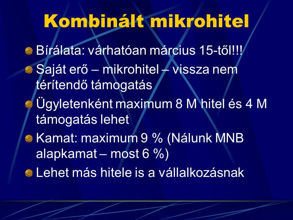 Kombinált mikrohitel Bírálata: várhatóan március 15-től!!! Saját erő – mikrohitel – vissza nem térítendő támogatás Ügyletenként maximum 8 M hitel és 4
