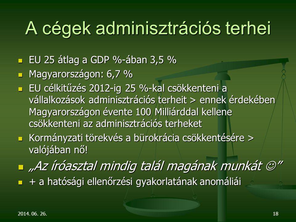 A cégek adminisztrációs terhei  EU 25 átlag a GDP %-ában 3,5 %  Magyarországon: 6,7 %  EU célkitűzés 2012-ig 25 %-kal csökkenteni a vállalkozások adminisztrációs terheit > ennek érdekében Magyarországon évente 100 Milliárddal kellene csökkenteni az adminisztrációs terheket  Kormányzati törekvés a bürokrácia csökkentésére > valójában nő.