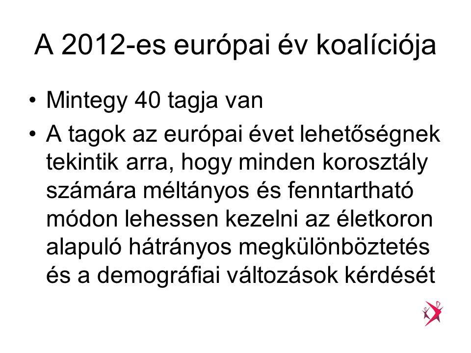 A 2012-es európai év koalíciója •Mintegy 40 tagja van •A tagok az európai évet lehetőségnek tekintik arra, hogy minden korosztály számára méltányos és