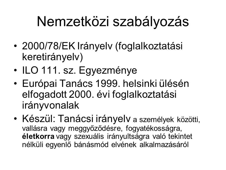 Nemzetközi szabályozás •2000/78/EK Irányelv (foglalkoztatási keretirányelv) •ILO 111. sz. Egyezménye •Európai Tanács 1999. helsinki ülésén elfogadott