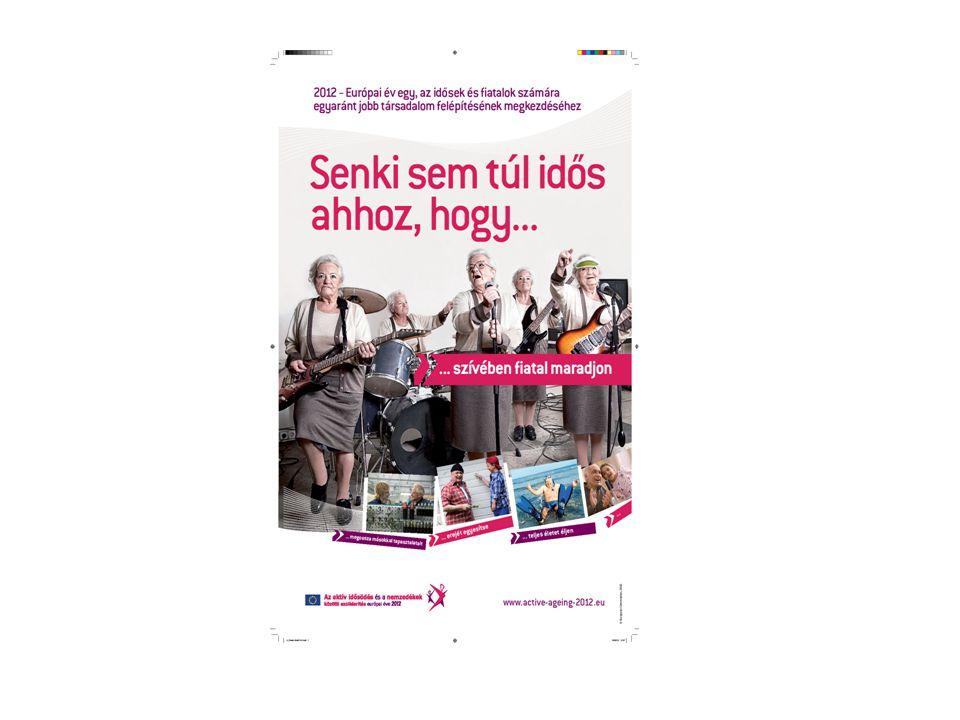 2012 az EU-ban az aktív időskor és a nemzedékek közötti szolidaritás éve •Az EU-ban a 65 év feletti népesség száma az Eurostat 2001-2006 vonatkozásában közzétett adatai szerint 8,9%-kal nőtt •A 0-14 év közötti populáció száma ezzel szemben 4,4%-kal csökkent •Tovább kell gondolni nemzeti és helyi szinteken az állam, a szociális partnerek, a civil társadalom időskorúakkal szemben az aktív időskor elősegítése, a generációk közötti szolidaritás megőrzése, az 50 év felettiek mobilitásának előmozdítása érdekében támasztott feladatait.