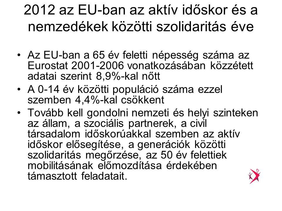 2012 az EU-ban az aktív időskor és a nemzedékek közötti szolidaritás éve •Az EU-ban a 65 év feletti népesség száma az Eurostat 2001-2006 vonatkozásába