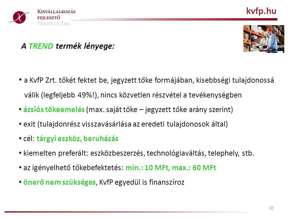 10 A TREND termék lényege: • a KvfP Zrt.