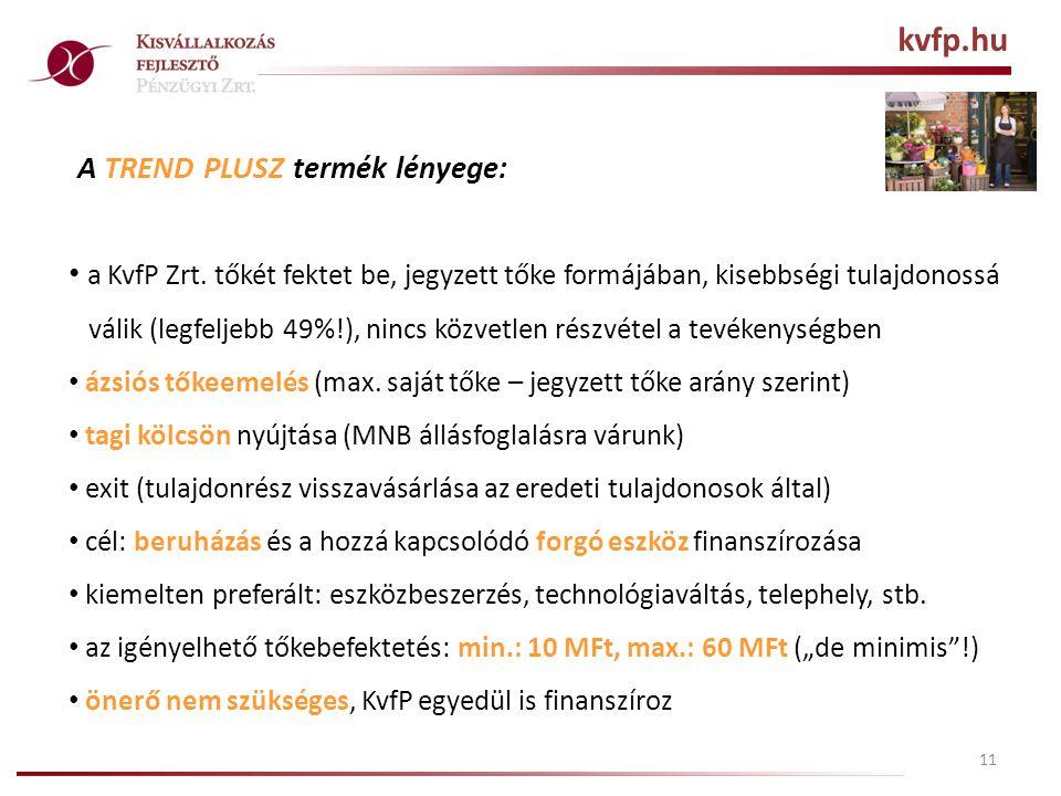 11 A TREND PLUSZ termék lényege: • a KvfP Zrt.