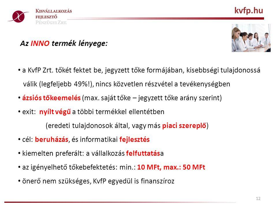 12 Az INNO termék lényege: • a KvfP Zrt.