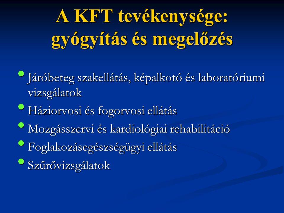 A KFT tevékenysége: gyógyítás és megelőzés • Járóbeteg szakellátás, képalkotó és laboratóriumi vizsgálatok • Háziorvosi és fogorvosi ellátás • Mozgáss