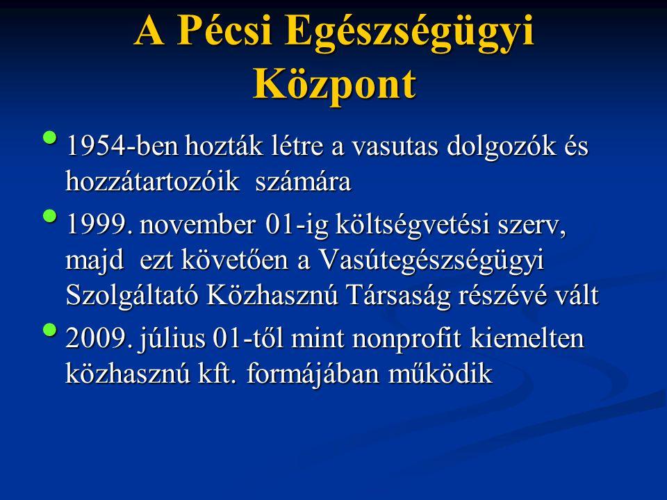 A Pécsi Egészségügyi Központ • 1954-ben hozták létre a vasutas dolgozók és hozzátartozóik számára • 1999. november 01-ig költségvetési szerv, majd ezt