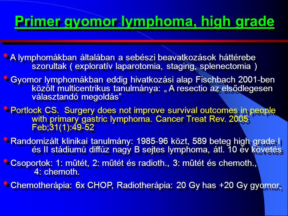 Primer gyomor lymphoma, high grade • A lymphomákban általában a sebészi beavatkozások háttérebe szorultak ( exploratív laparotomia, staging, splenecto