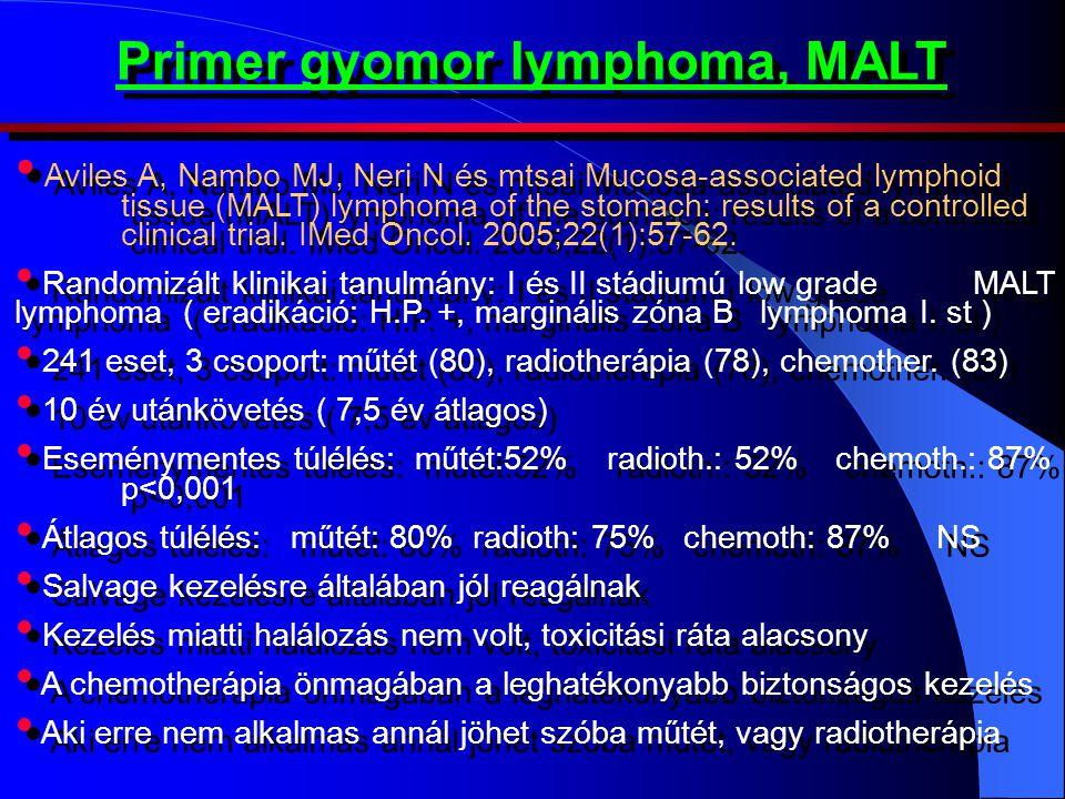 Primer gyomor lymphoma, MALT • Aviles A, Nambo MJ, Neri N és mtsai Mucosa-associated lymphoid tissue (MALT) lymphoma of the stomach: results of a controlled clinical trial.
