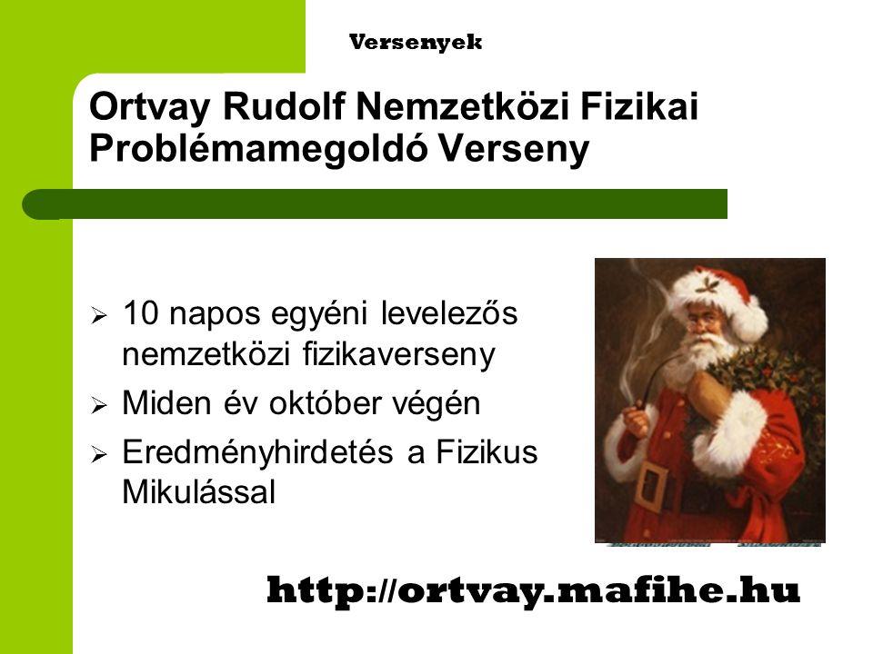 Ortvay Rudolf Nemzetközi Fizikai Problémamegoldó Verseny  10 napos egyéni levelezős nemzetközi fizikaverseny  Miden év október végén  Eredményhirdetés a Fizikus Mikulással http :// ortvay.mafihe.hu Versenyek