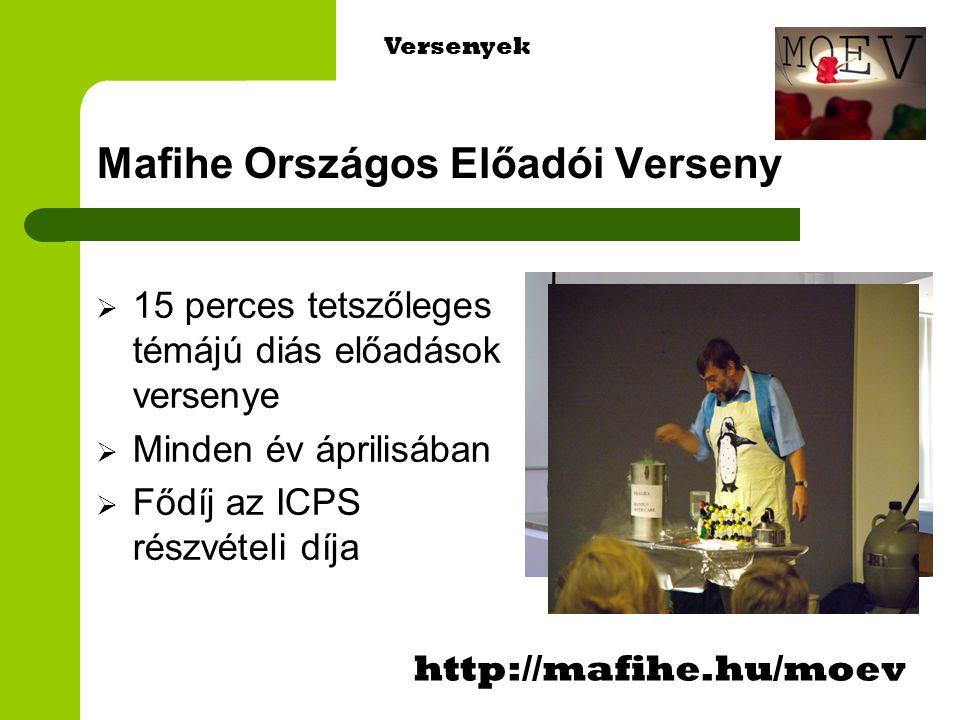 Mafihe Országos Előadói Verseny  15 perces tetszőleges témájú diás előadások versenye  Minden év áprilisában  Fődíj az ICPS részvételi díja http://mafihe.hu/moev Versenyek