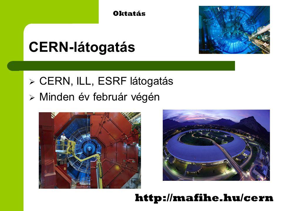 CERN-látogatás  CERN, ILL, ESRF látogatás  Minden év február végén http://mafihe.hu/cern Oktatás