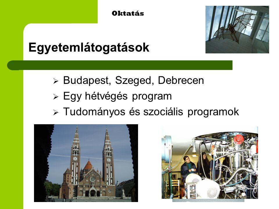 Egyetemlátogatások  Budapest, Szeged, Debrecen  Egy hétvégés program  Tudományos és szociális programok Oktatás