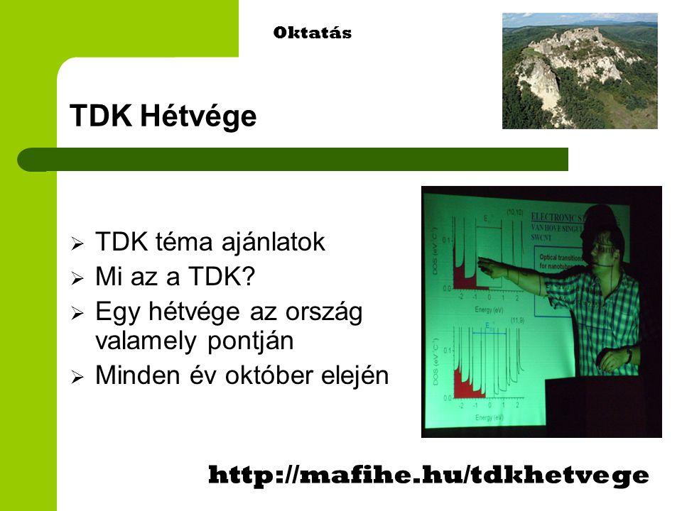 TDK Hétvége  TDK téma ajánlatok  Mi az a TDK.