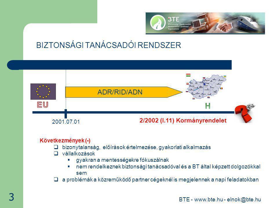 ADR/RID/ADN BIZTONSÁGI TANÁCSADÓI RENDSZER 2001.07.01 BTE - www.bte.hu - elnok@bte.hu 2 2/2002 (I.11) Kormányrendelet Következmények (+)  12 év sok hasznos elméleti és gyakorlati tapasztalatot eredményezett  világos a cél.