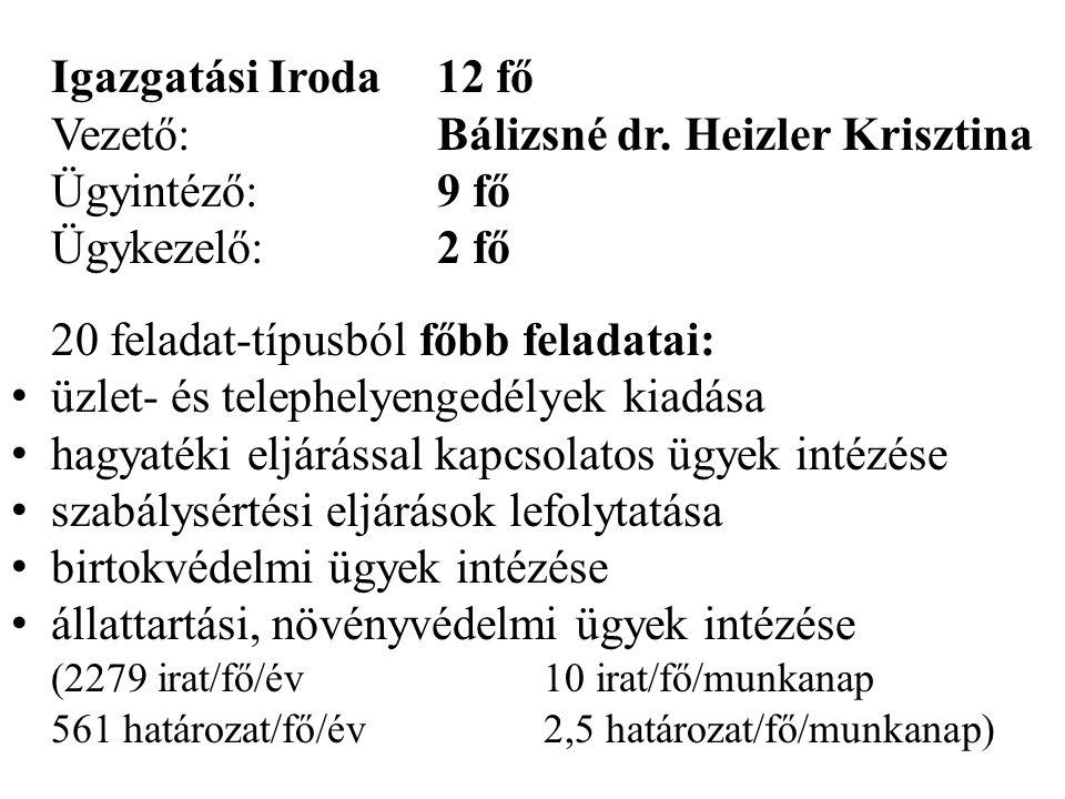 Igazgatási Iroda12 fő Vezető:Bálizsné dr. Heizler Krisztina Ügyintéző:9 fő Ügykezelő:2 fő 20 feladat-típusból főbb feladatai: • üzlet- és telephelyeng
