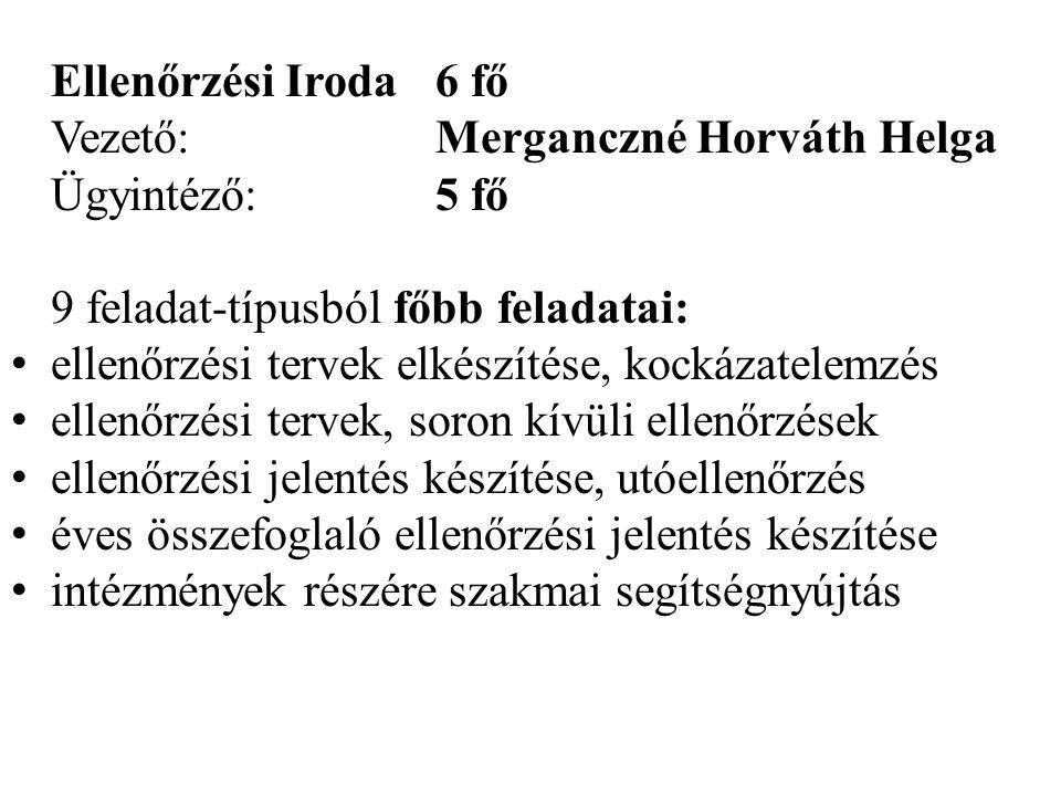 Ellenőrzési Iroda6 fő Vezető:Merganczné Horváth Helga Ügyintéző:5 fő 9 feladat-típusból főbb feladatai: • ellenőrzési tervek elkészítése, kockázatelem