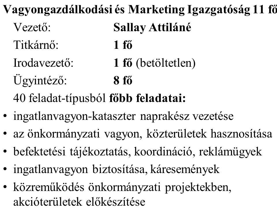 Vagyongazdálkodási és Marketing Igazgatóság 11 fő Vezető:Sallay Attiláné Titkárnő:1 fő Irodavezető:1 fő (betöltetlen) Ügyintéző:8 fő 40 feladat-típusb