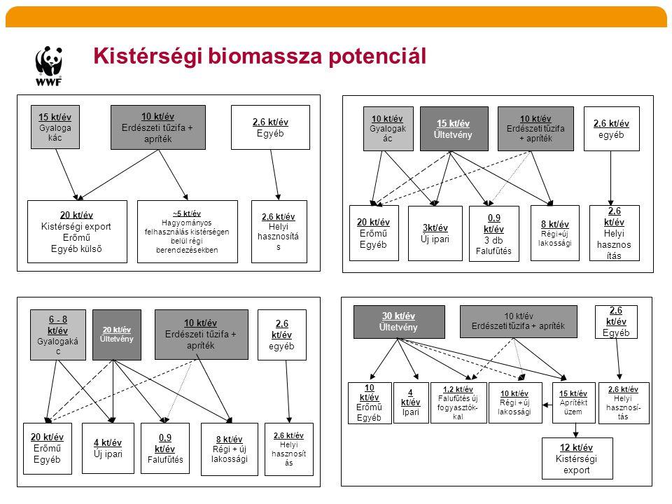 Kistérségi biomassza potenciál 6 - 8 kt/év Gyalogaká c 10 kt/év Erdészeti tűzifa + apríték 2,6 kt/év egyéb 2,6 kt/év Helyi hasznosít ás 20 kt/év Erőmű