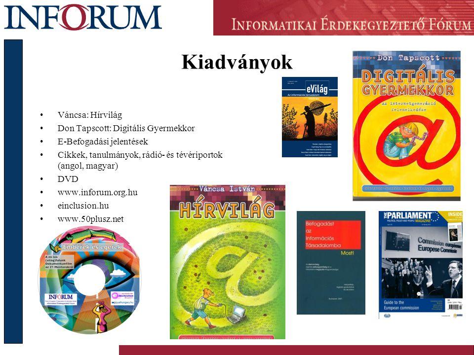 Kiadványok •Váncsa: Hírvilág •Don Tapscott: Digitális Gyermekkor •E-Befogadási jelentések •Cikkek, tanulmányok, rádió- és tévériportok (angol, magyar) •DVD •www.inforum.org.hu •einclusion.hu •www.50plusz.net
