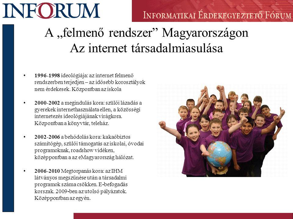 """A """"felmenő rendszer Magyarországon Az internet társadalmiasulása •1996-1998 ideológiája: az internet felmenő rendszerben terjedjen – az idősebb korosztályok nem érdekesek."""