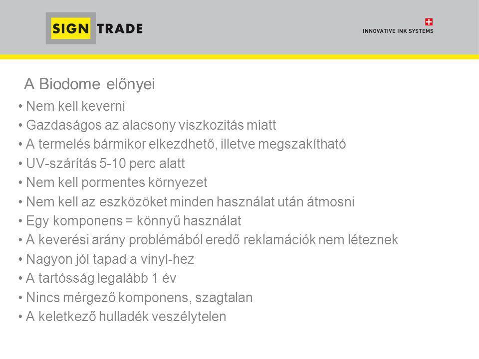 A Biodome előnyei • Nem kell keverni • Gazdaságos az alacsony viszkozitás miatt • A termelés bármikor elkezdhető, illetve megszakítható • UV-szárítás