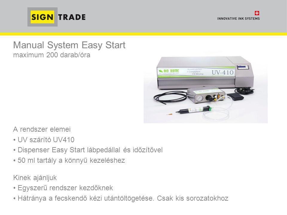 Manual System Light fMaximum 600 db / óra A rendszer elemei • UV szárító UV420 (rövidebb száradási idő) • Folyadék tartály LC5 – 5 literes kapacitás • Kézi pisztoly MD2 Kinek ajánljuk • Kis és közepes sorozatokhoz ideális • Azonnal munkába fogható, de manuális az adagolás