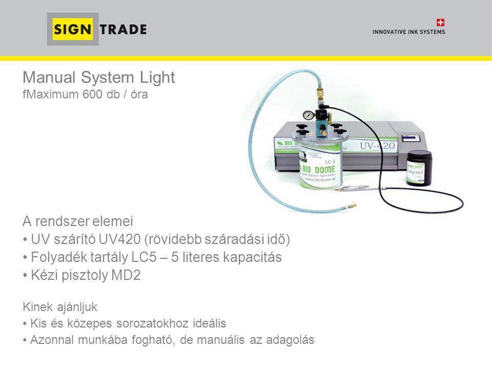 Manual System Light fMaximum 600 db / óra A rendszer elemei • UV szárító UV420 (rövidebb száradási idő) • Folyadék tartály LC5 – 5 literes kapacitás •