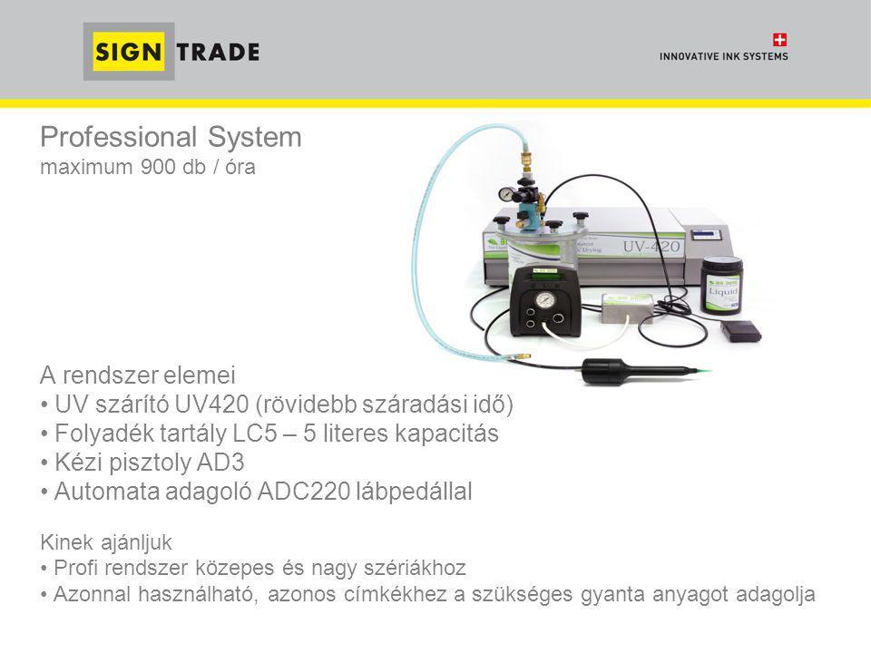 Professional System maximum 900 db / óra A rendszer elemei • UV szárító UV420 (rövidebb száradási idő) • Folyadék tartály LC5 – 5 literes kapacitás •