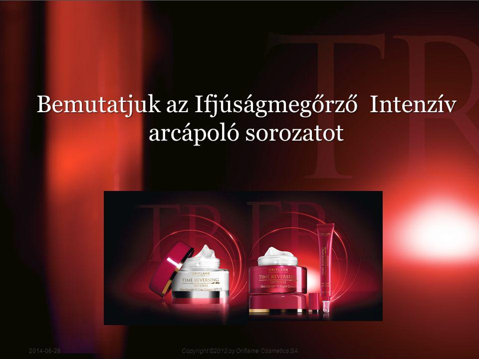 122014-06-26Copyright ©2012 by Oriflame Cosmetics SA Az új Ifjúságmegőrző Intenzív arcápolók két nagy hatásfokú összetevő, a Genistein SOY és az Amino +TM kombinációját tartalmazzák.