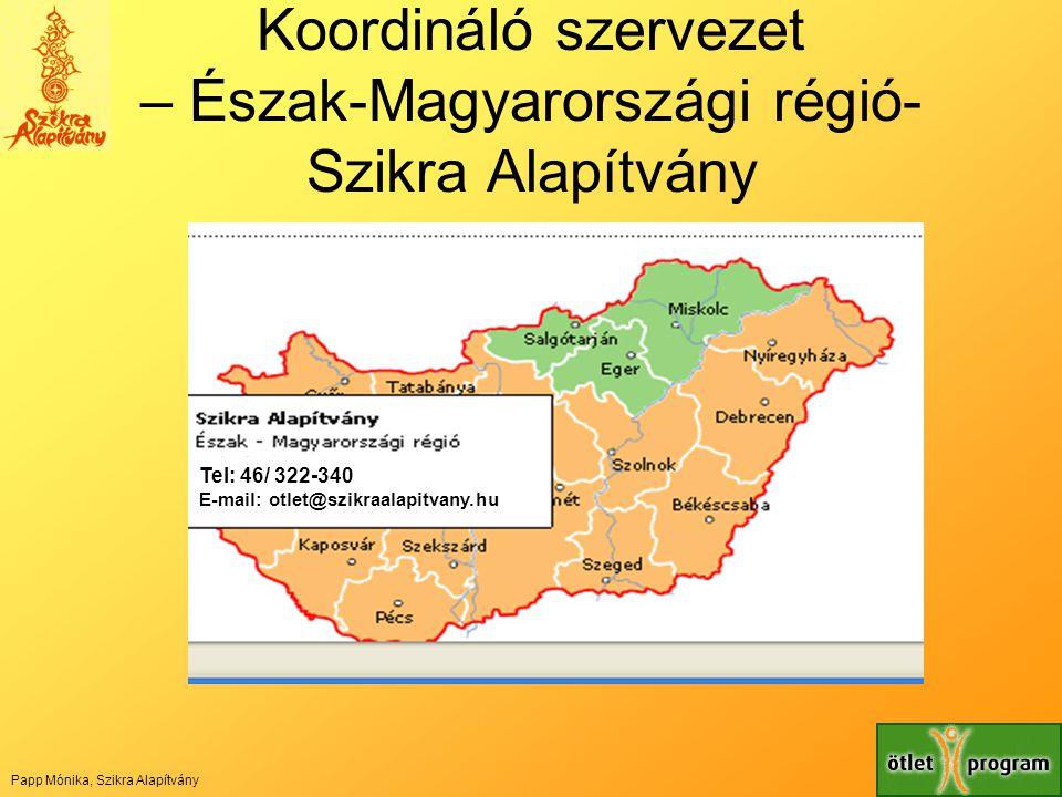 Koordináló szervezet – Észak-Magyarországi régió- Szikra Alapítvány Tel: 46/ 322-340 E-mail: otlet@szikraalapitvany.hu Papp Mónika, Szikra Alapítvány