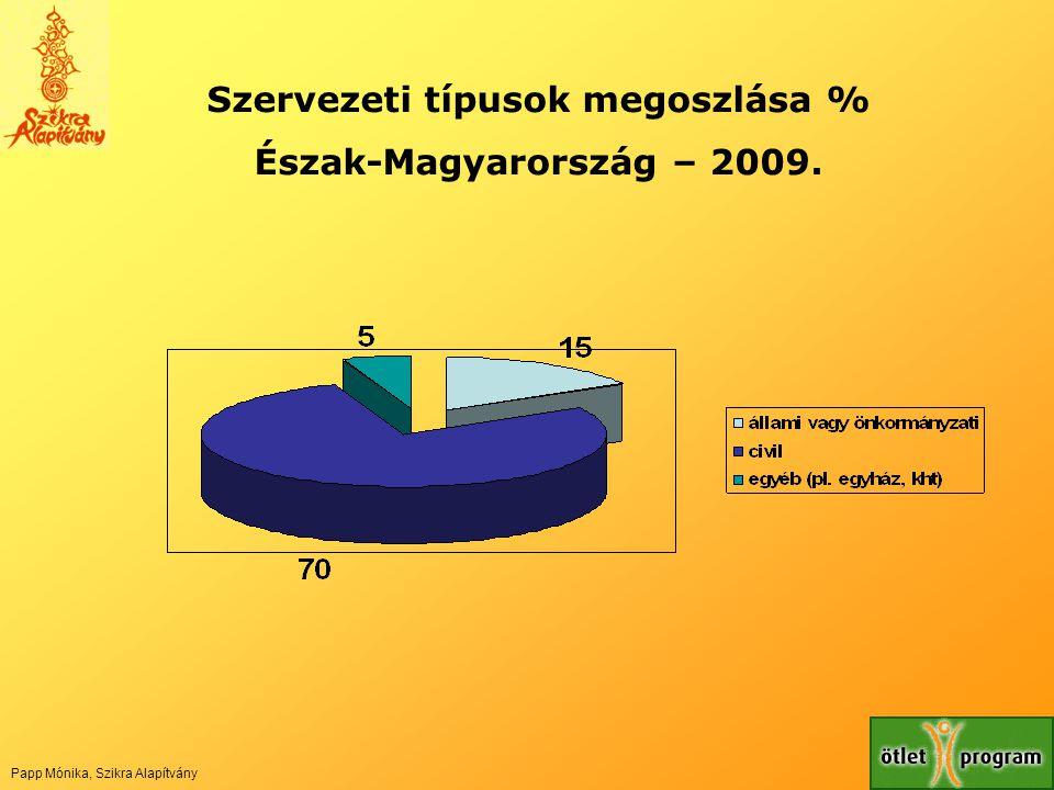 Szervezeti típusok megoszlása % Észak-Magyarország – 2009. Papp Mónika, Szikra Alapítvány