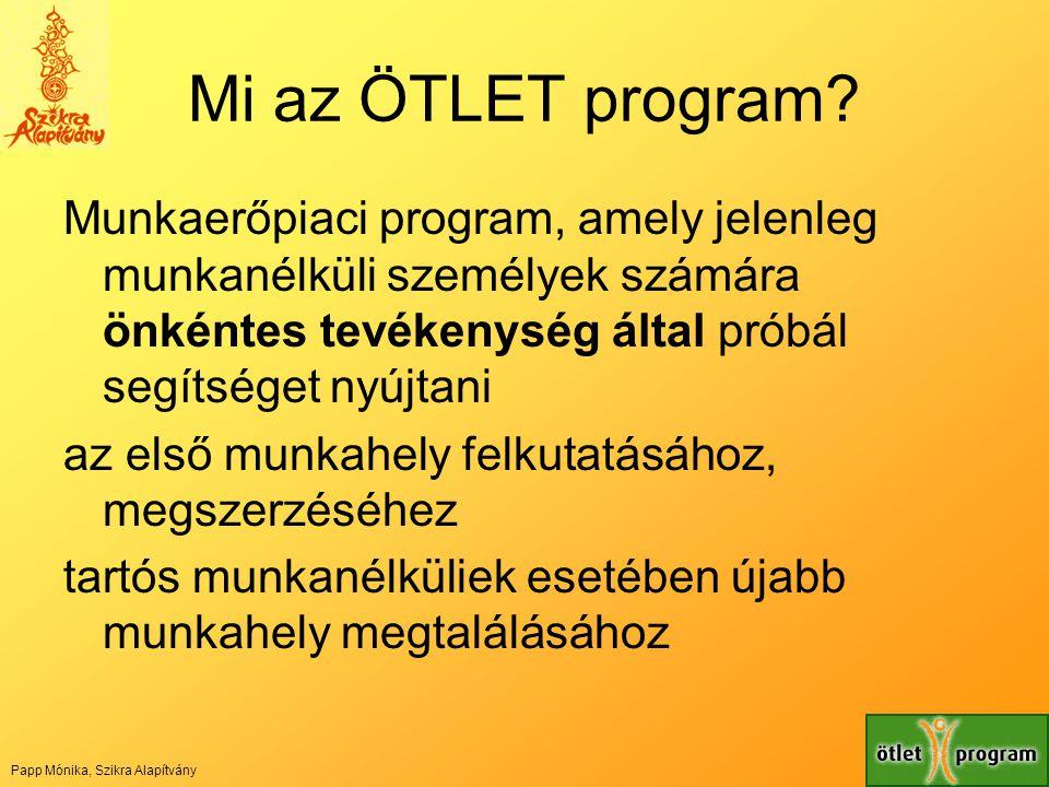 Mi az ÖTLET program? Munkaerőpiaci program, amely jelenleg munkanélküli személyek számára önkéntes tevékenység által próbál segítséget nyújtani az els