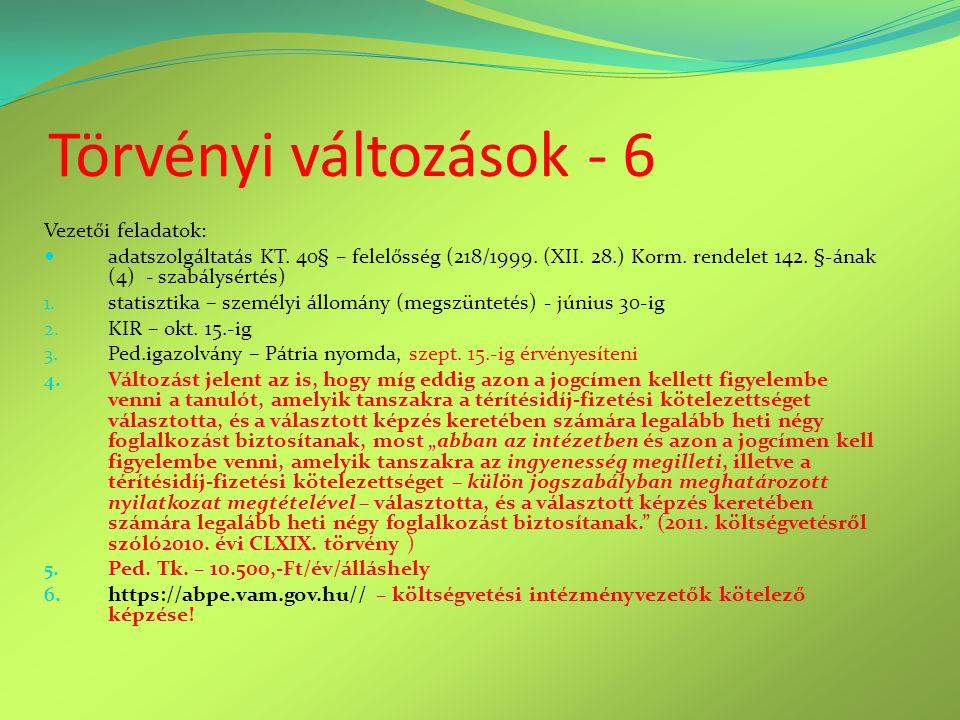 Törvényi változások - 6 Vezetői feladatok:  adatszolgáltatás KT. 40§ – felelősség (218/1999. (XII. 28.) Korm. rendelet 142. §-ának (4) - szabálysérté