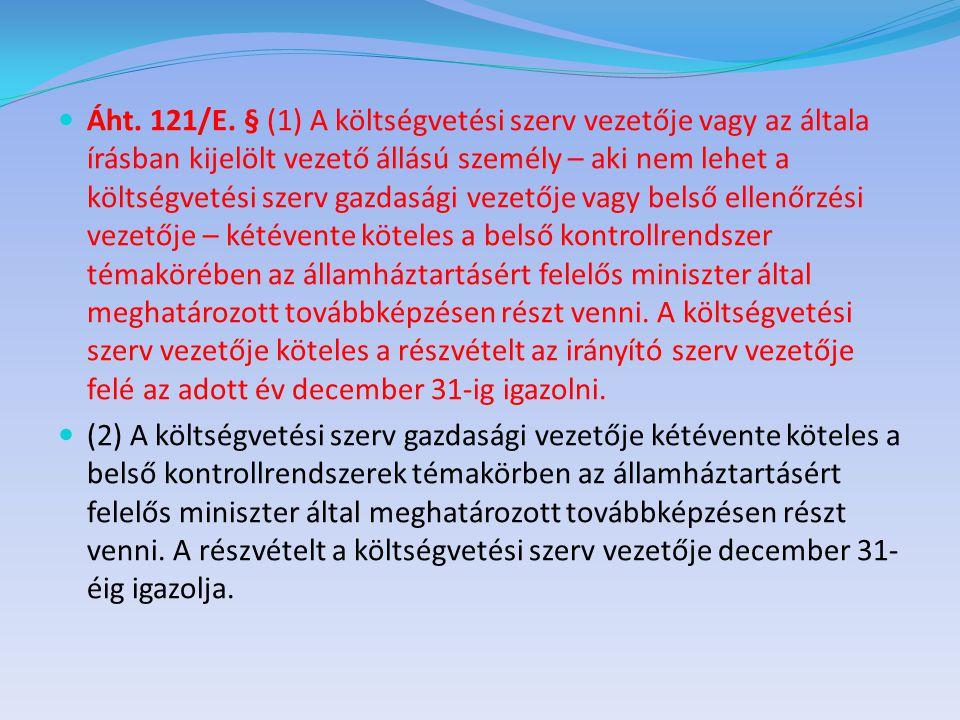  Áht. 121/E. § (1) A költségvetési szerv vezetője vagy az általa írásban kijelölt vezető állású személy – aki nem lehet a költségvetési szerv gazdasá