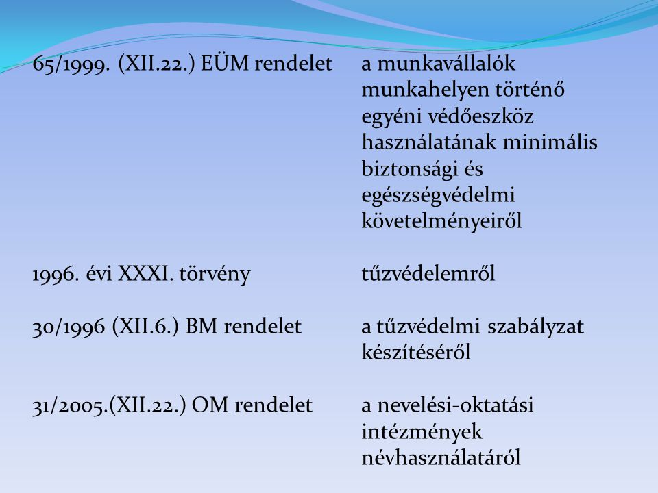65/1999. (XII.22.) EÜM rendeleta munkavállalók munkahelyen történő egyéni védőeszköz használatának minimális biztonsági és egészségvédelmi követelmény