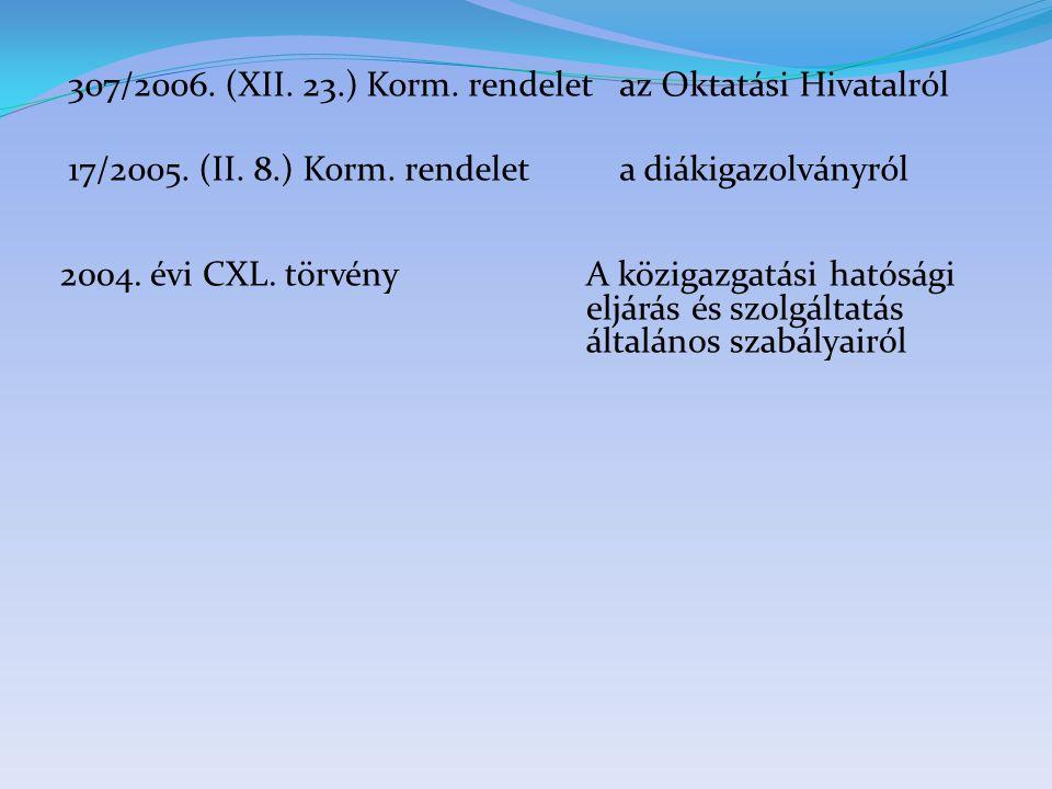 307/2006. (XII. 23.) Korm. rendelet az Oktatási Hivatalról 17/2005. (II. 8.) Korm. rendelet a diákigazolványról 2004. évi CXL. törvény A közigazgatási