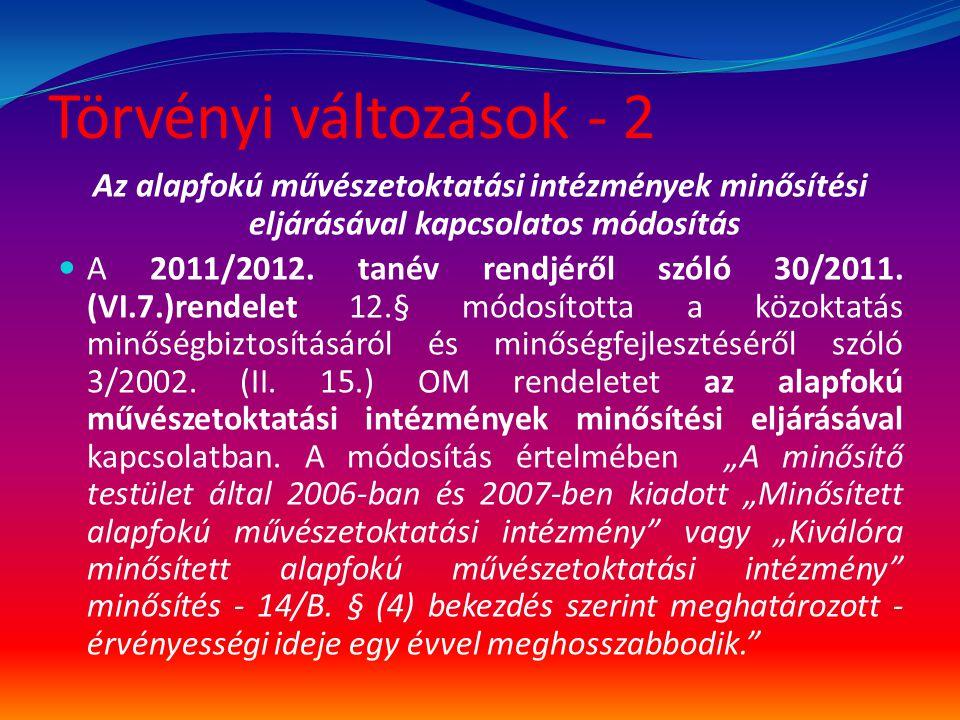 Törvényi változások - 2 Az alapfokú művészetoktatási intézmények minősítési eljárásával kapcsolatos módosítás  A 2011/2012. tanév rendjéről szóló 30/