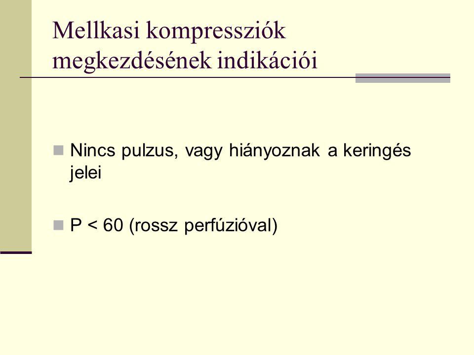 Mellkasi kompressziók megkezdésének indikációi  Nincs pulzus, vagy hiányoznak a keringés jelei  P < 60 (rossz perfúzióval)