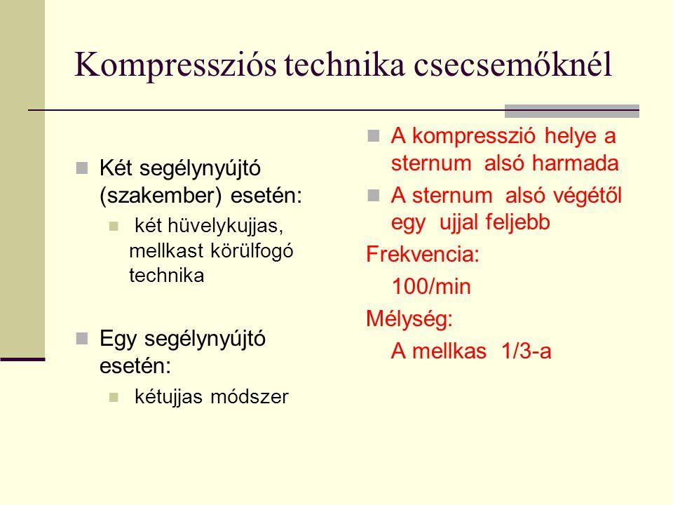 Kompressziós technika csecsemőknél  Két segélynyújtó (szakember) esetén:  két hüvelykujjas, mellkast körülfogó technika  Egy segélynyújtó esetén: 