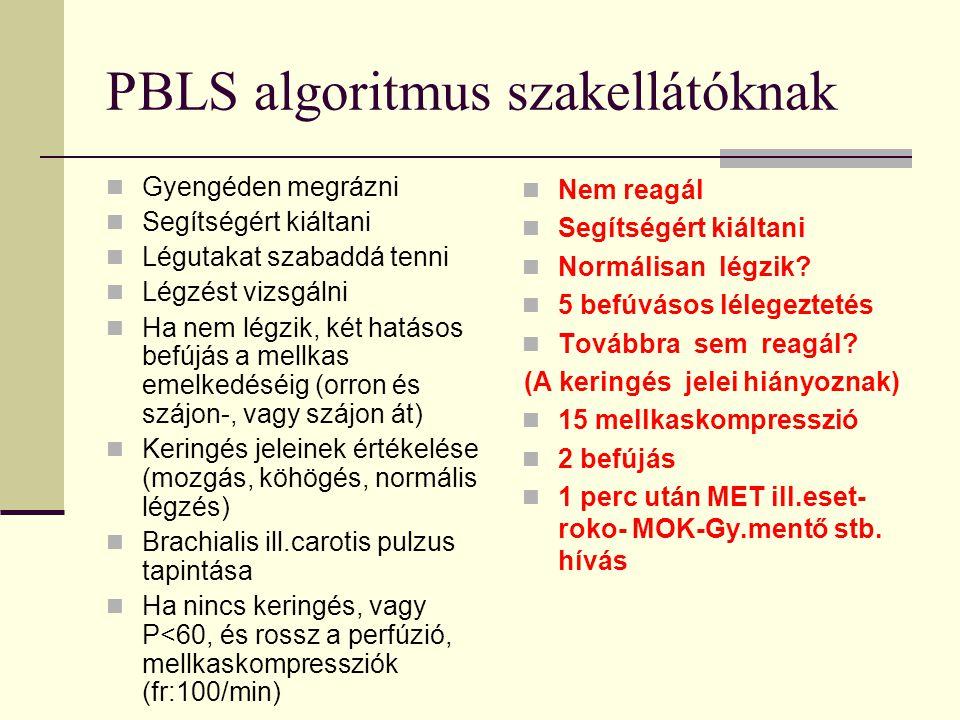 PBLS algoritmus szakellátóknak  Gyengéden megrázni  Segítségért kiáltani  Légutakat szabaddá tenni  Légzést vizsgálni  Ha nem légzik, két hatásos