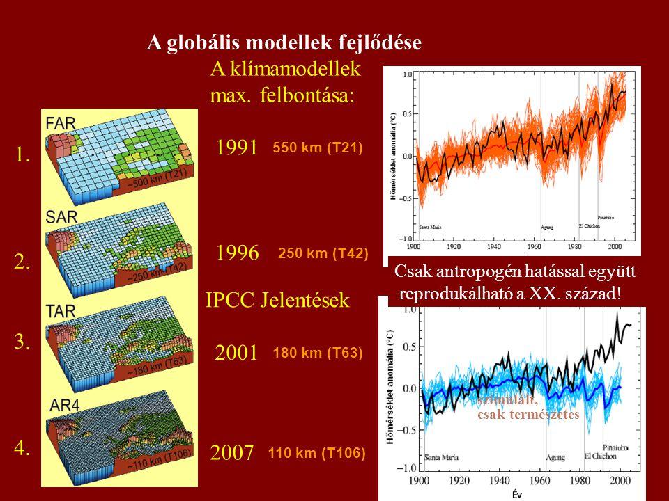 A globális modellek fejlődése 1991 1996 2001 2007 IPCC Jelentések A klímamodellek max. felbontása: 1. 2. 3. 4. 550 km (T21) 250 km (T42) 180 km (T63)