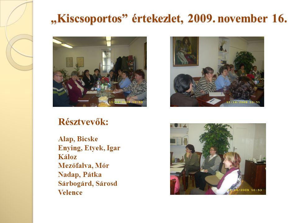 """""""Kiscsoportos"""" értekezlet, 2009. november 16. Résztvevők: Alap, Bicske Enying, Etyek, Igar Káloz Mezőfalva, Mór Nadap, Pátka Sárbogárd, Sárosd Velence"""