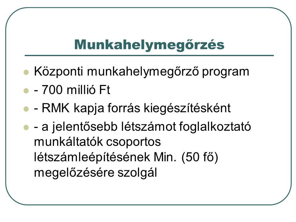 Munkahelymegőrzés  Központi munkahelymegőrző program  - 700 millió Ft  - RMK kapja forrás kiegészítésként  - a jelentősebb létszámot foglalkoztató