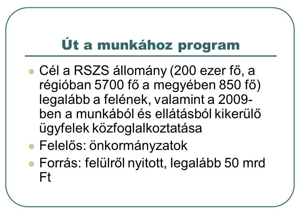 Út a munkához program  Cél a RSZS állomány (200 ezer fő, a régióban 5700 fő a megyében 850 fő) legalább a felének, valamint a 2009- ben a munkából és