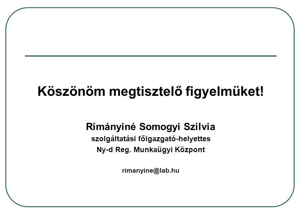 Köszönöm megtisztelő figyelmüket! Rimányiné Somogyi Szilvia szolgáltatási főigazgató-helyettes Ny-d Reg. Munkaügyi Központ rimanyine@lab.hu