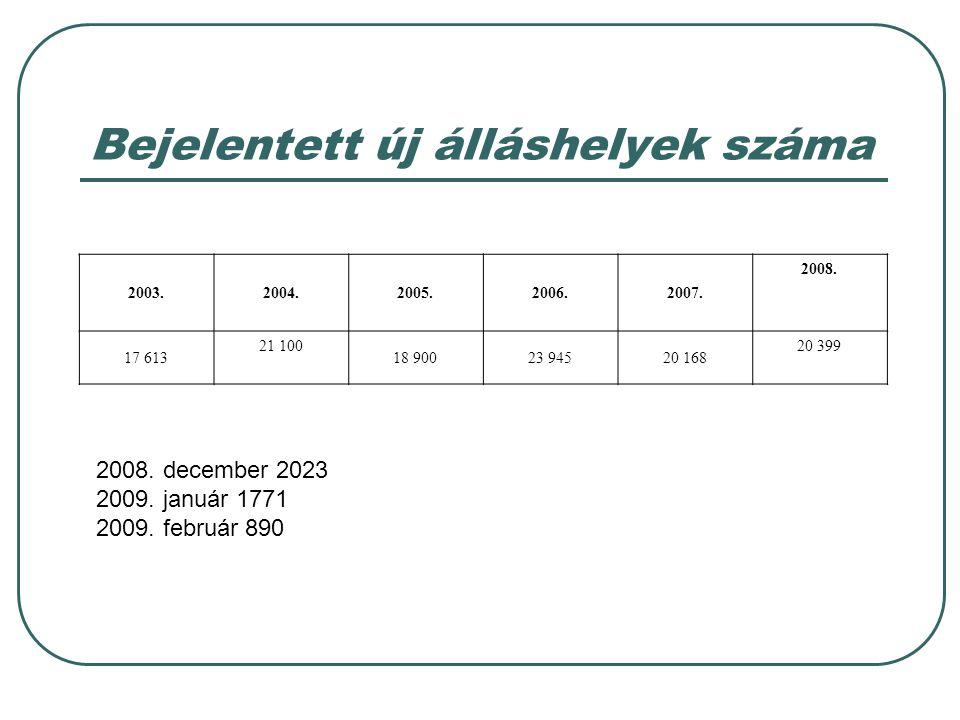 Bejelentett új álláshelyek száma 2003.2004.2005.2006.2007. 2008. 17 613 21 100 18 90023 94520 168 20 399 2008. december 2023 2009. január 1771 2009. f