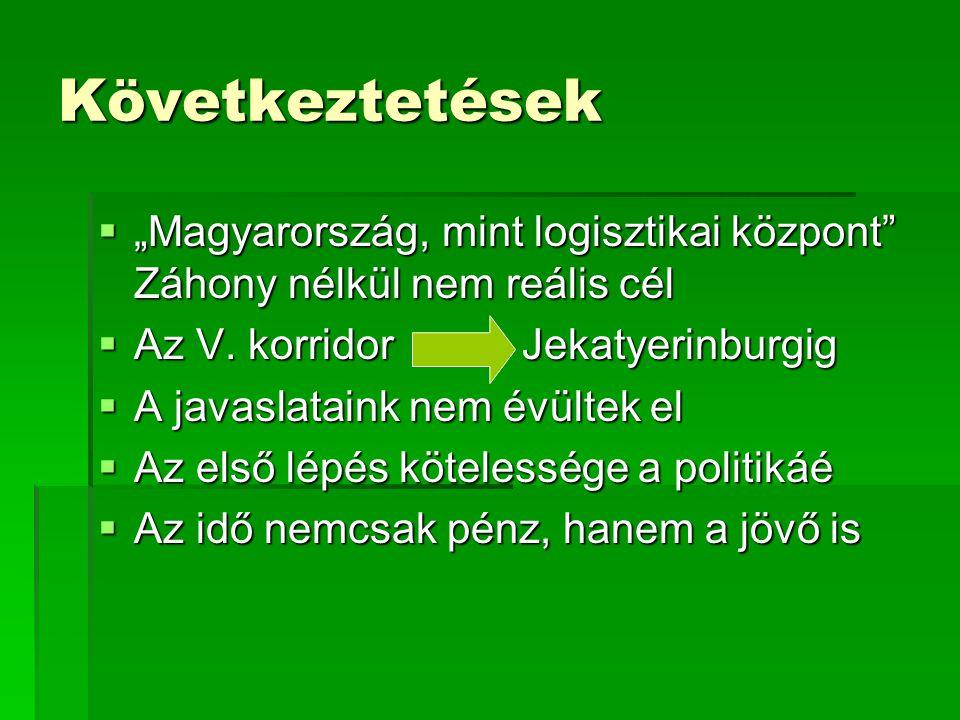 """Következtetések  """"Magyarország, mint logisztikai központ Záhony nélkül nem reális cél  Az V."""