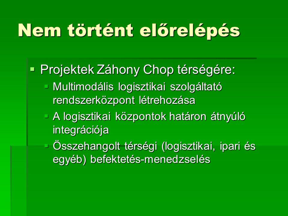 Nem történt előrelépés  Projektek Záhony Chop térségére:  Multimodális logisztikai szolgáltató rendszerközpont létrehozása  A logisztikai központok határon átnyúló integrációja  Összehangolt térségi (logisztikai, ipari és egyéb) befektetés-menedzselés