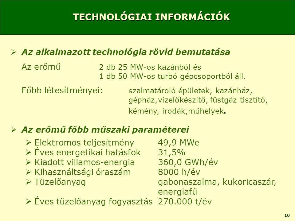 10 TECHNOLÓGIAI INFORMÁCIÓK  Az alkalmazott technológia rövid bemutatása Az erőmű 2 db 25 MW-os kazánból és 1 db 50 MW-os turbó gépcsoportból áll.